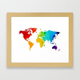 Original Watercolor - Map of The World - Travel Art - Chakra Rainbow Colors Framed Art Print