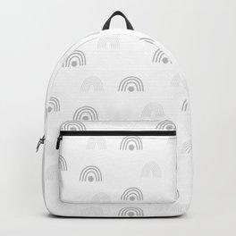 Light Grey Minimal Rainbow Monochrome Hand-Drawn Seamless Pattern Backpack