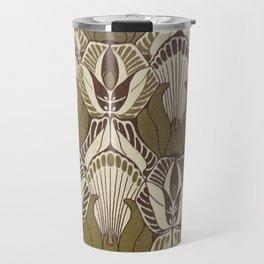 Art nouveau, neutral color pattern, floral design Travel Mug