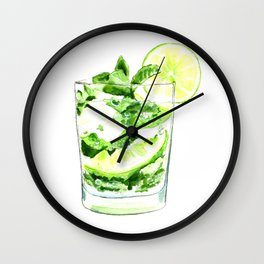 Cocktails. Mojito. Watercolor Painting. Wall Clock