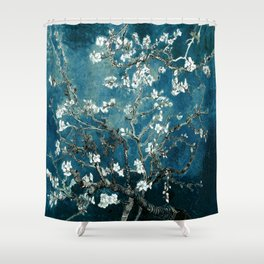 Van Gogh Almond Blossoms : Dark Teal Shower Curtain