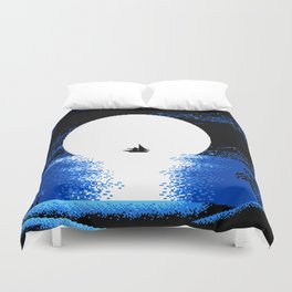 Gazing  the  Moon  at  the  Celestial  Seashore Duvet Cover