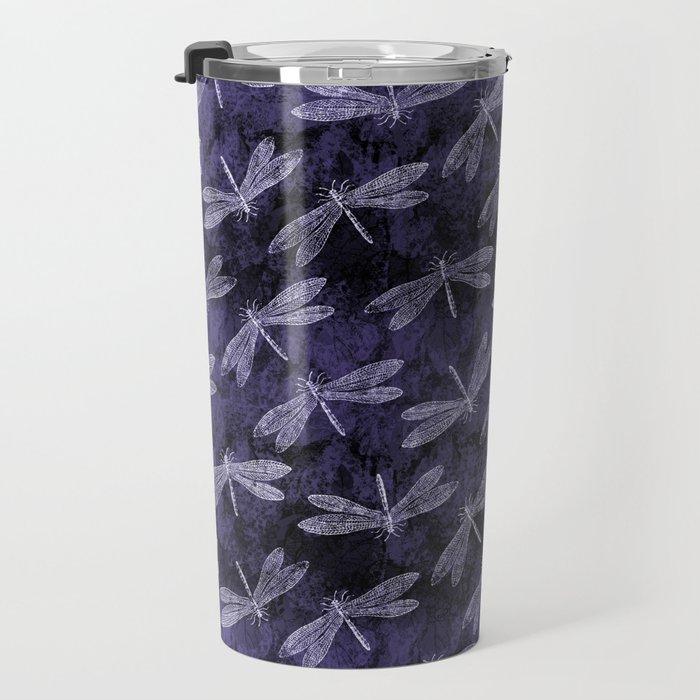 Purple Dragonfly Twighlight Dance Travel Mug