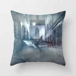 Night Shark Throw Pillow