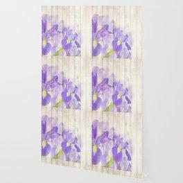 Romantic Vintage Shabby Chic Floral Wood Purple Wallpaper
