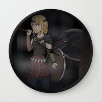 how to train your dragon Wall Clocks featuring Astrid - How To Train Your Dragon by Kallian