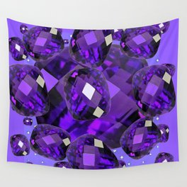 PURPLE AMETHYST FACETED  JEWEL GEMS BIRTHSTONE Wall Tapestry