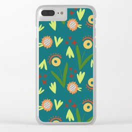 Modern Organic Floral Pattern // Hand-drawn Illustration Clear iPhone Case
