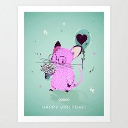 Happy Birthday little mouse Art Print