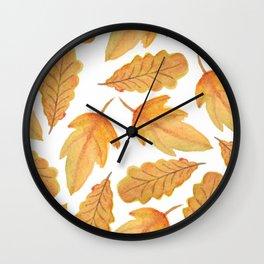 Autumn Watercolor Orange Fall Leaves Wall Clock