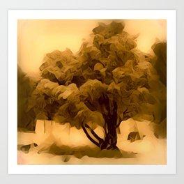Sepia Juniper Tree by CheyAnne Sexton Art Print