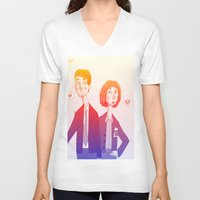 mulder V-neck T-shirts featuring mulder n scully by clairen0vak