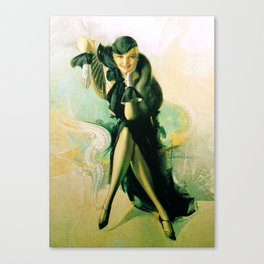 """""""Flapper with Black Fur"""" Pinup by Rolf Armstrong Canvas Print"""