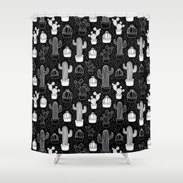 Black & White Cactus Doodle Pattern Shower Curtain
