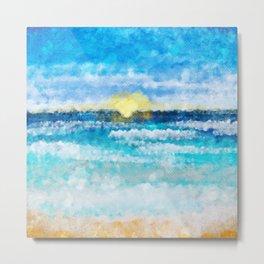 Sunset at a beach landscape Metal Print