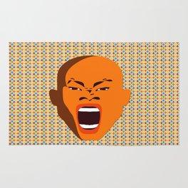 orange color male head screaming face pattern digital art zolliophone Rug