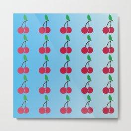 cherries pattern logo Metal Print