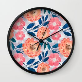 Pink, orange flowers on a light gray background. Wall Clock
