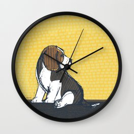 Beagle Puppy Portait by Friztin Wall Clock
