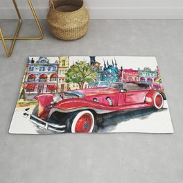 Red antique car Rug