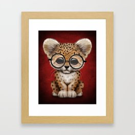 Cute Baby Leopard Cub Wearing Glasses on Deep Red Framed Art Print