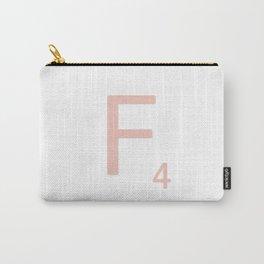 Pink Scrabble Letter F - Scrabble Tile Art Carry-All Pouch
