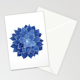 Indigo Succulent |  Watercolor Painting Stationery Cards