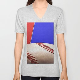Baseball Sports on Blue and Red Unisex V-Neck