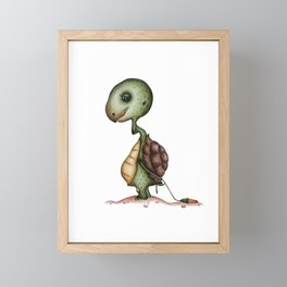 Tortoise with flower Framed Mini Art Print