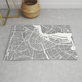 Grey City Map of Amsterdam, Netherlands Rug