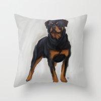 rottweiler Throw Pillows featuring Rottweiler by Kendra Aldrich