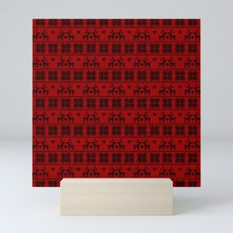 Antiallergenic Hand Knitted Red Winter Wool Pattern - Mix & Match with Simplicty of life Mini Art Print