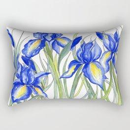 Blue Iris, Illustration Rectangular Pillow