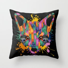 Fox Face Color Splashes Throw Pillow