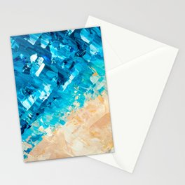Deep | Abstract blue turquoise ocean beach acrylic brushstrokes painting Stationery Cards