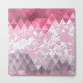 Abstract pink gray watercolor floral triangles Metal Print