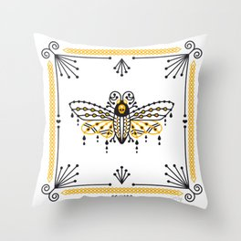Death's Head Hawkmoth – Yellow & Black Palette Throw Pillow