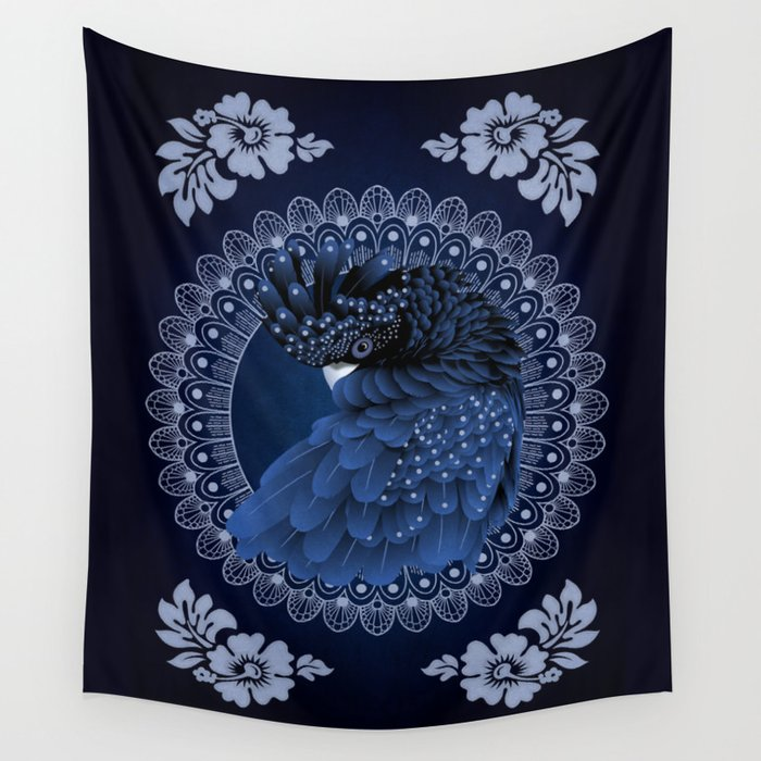 Studio Dalio - Decorative Australian Cockatoo in Blue Wall Tapestry