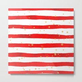 Modern hand painted red yellow watercolor stripes splatters Metal Print