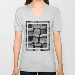 Take a Seat - Black and White Unisex V-Neck