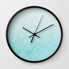 Modern chic teal pastel gradient faux glitter Wall Clock