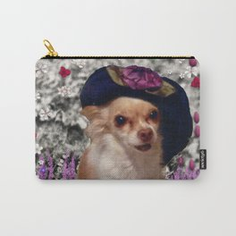 Chi Chi in Purple, Red, Pink, White Flowers, Chihuahua Puppy Dog Carry-All Pouch