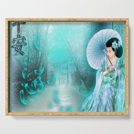Geisha In Teal Serving Tray