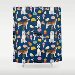 Husky siberian huskies junk food cute dog art sweet treat dogs pet portrait pattern Shower Curtain