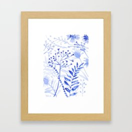 Chamomile Daisies, Eucalyptus, Fennel, Hypericum Floral Watercolor Painting by Tzechee Framed Art Print