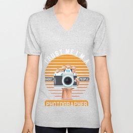 I Shoot People Photographer Photography Camera Cameraman Gift Unisex V-Neck