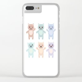 funny cats, pastel colors on white background Clear iPhone Case