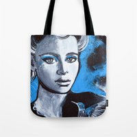 jenna kutcher Tote Bags featuring Jenna by McLean - Art & Design