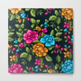 Pixel Floral - Multicolor on Black Metal Print