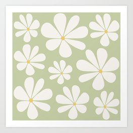 Floral Daisy Pattern - Green Art Print